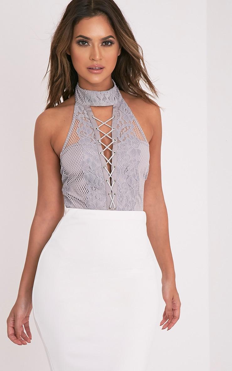 Kayla Grey Choker Neck Lace Up Front Thong Bodysuit 1
