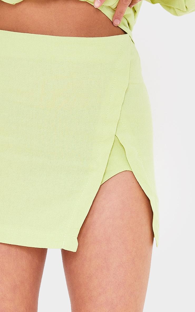 Petite Lime Split Detail Linen Look Mini Skirt 5
