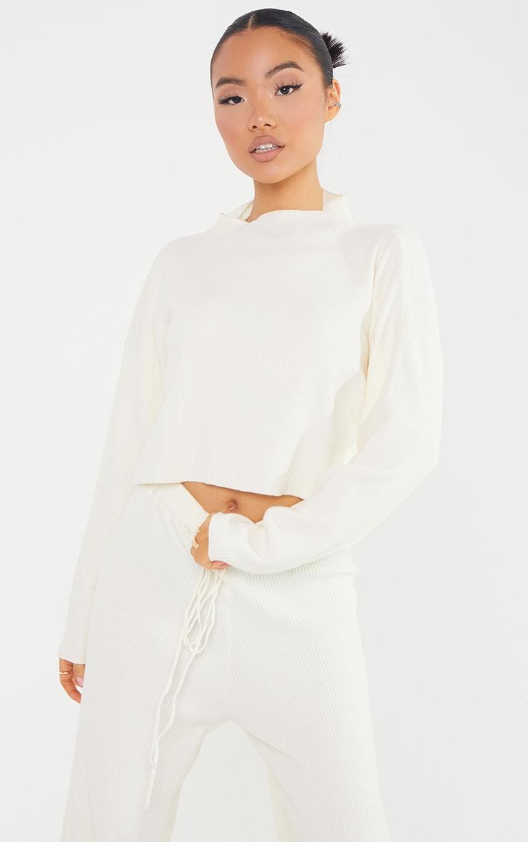 Petite Cream Soft Rib Cropped Sweater 1