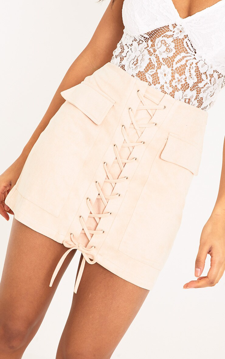 Ziva Blush Faux Suede Lace Up Mini Skirt 6