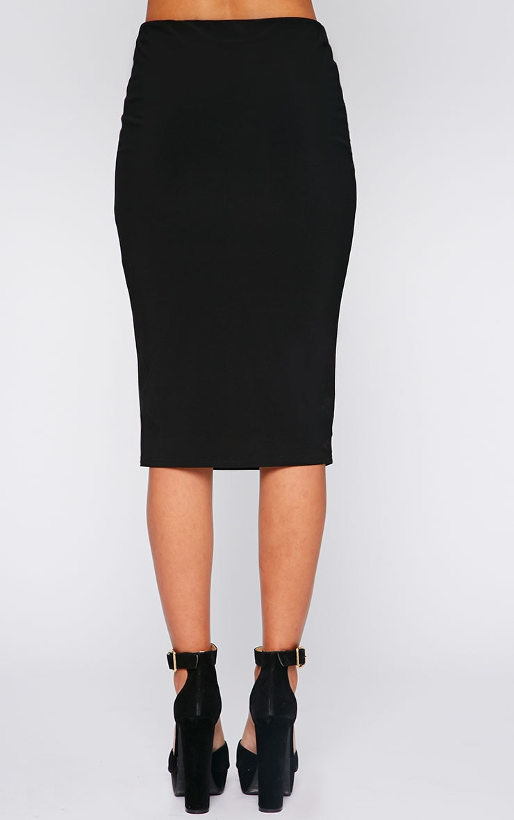 Bessie Black Slinky Midi Skirt  4