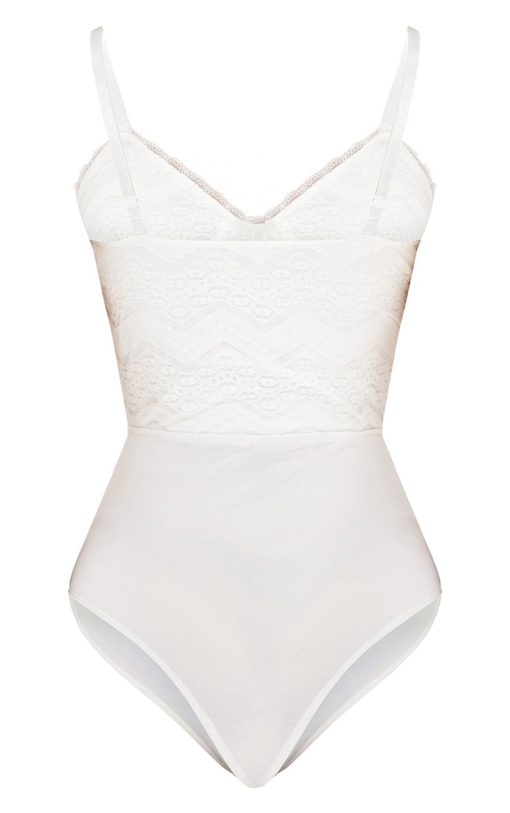 Archa White Lace Panelled Thong Bodysuit 5