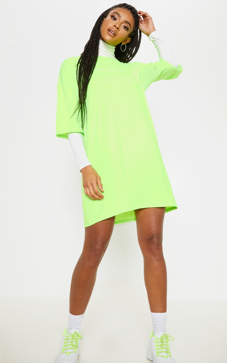 PRETTYLITTLETHING Lime Oversized Boyfriend T Shirt Dress 4