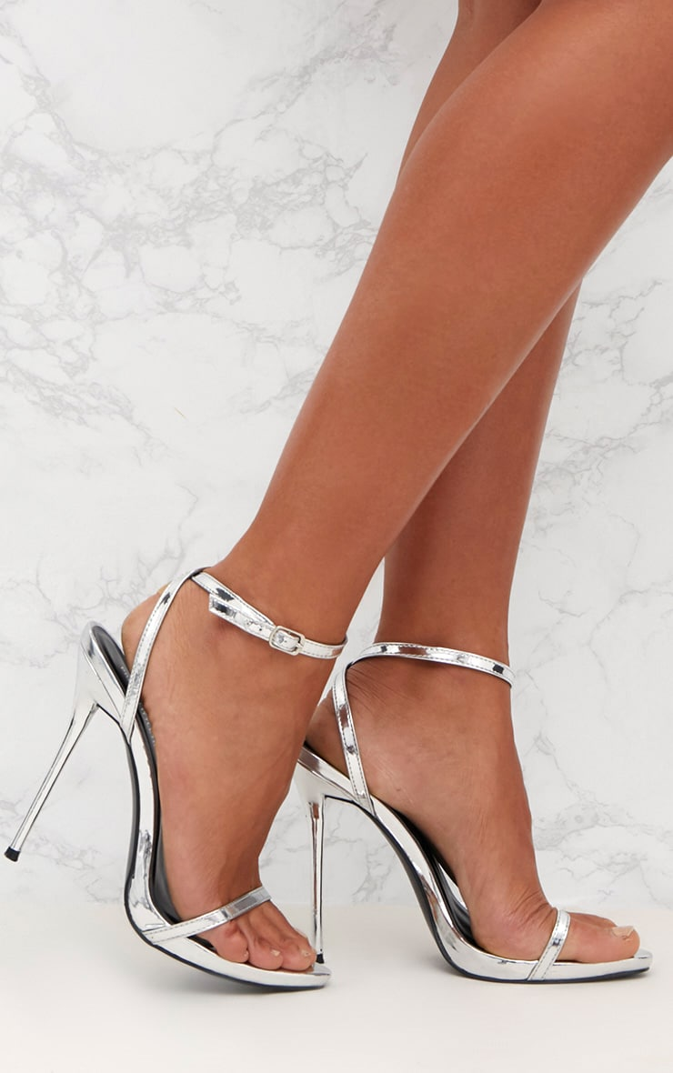 Silver Patent PU Single Strap Stilleto Sandals  1