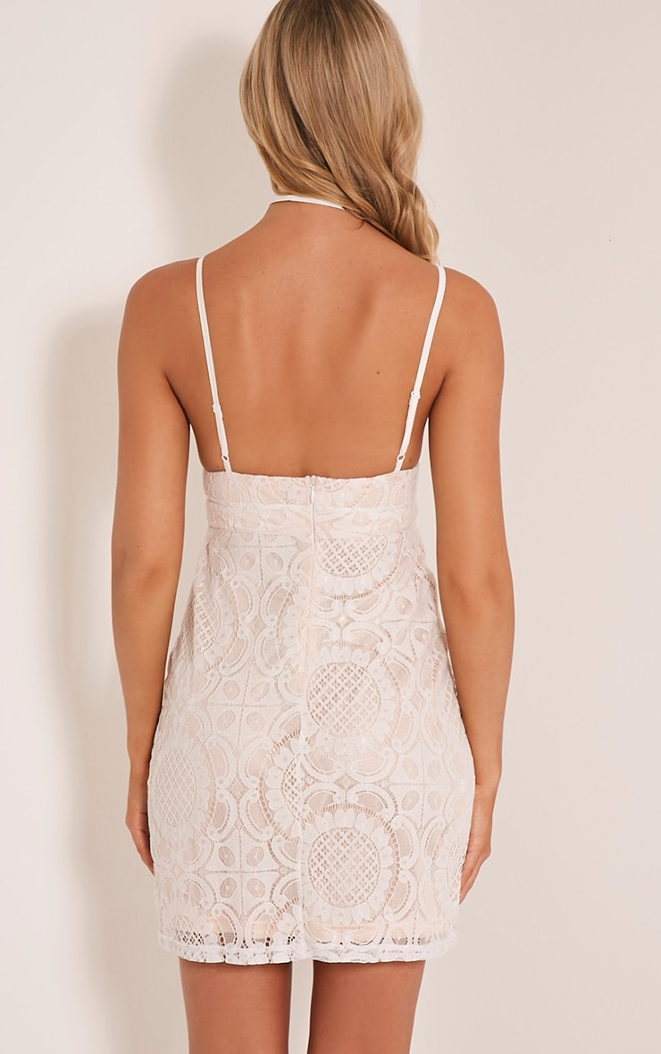 Leah White Lace Strappy Bodycon Dress 2