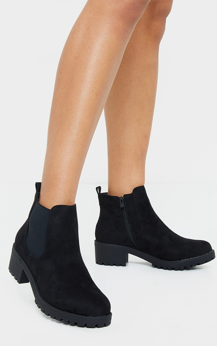 Black Faux Suede Low Heel Cleated Chelsea Ankle Boot 2