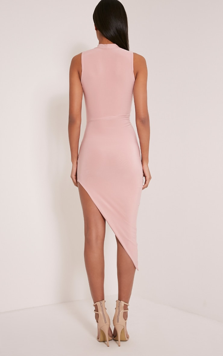 Prim Dusty Pink Slinky Drape Asymmetric Dress 2