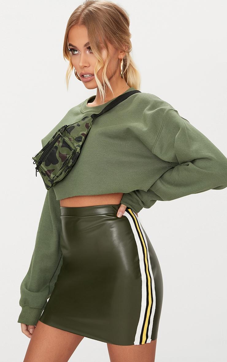 Khaki PU Track Stripe Mini Skirt  1