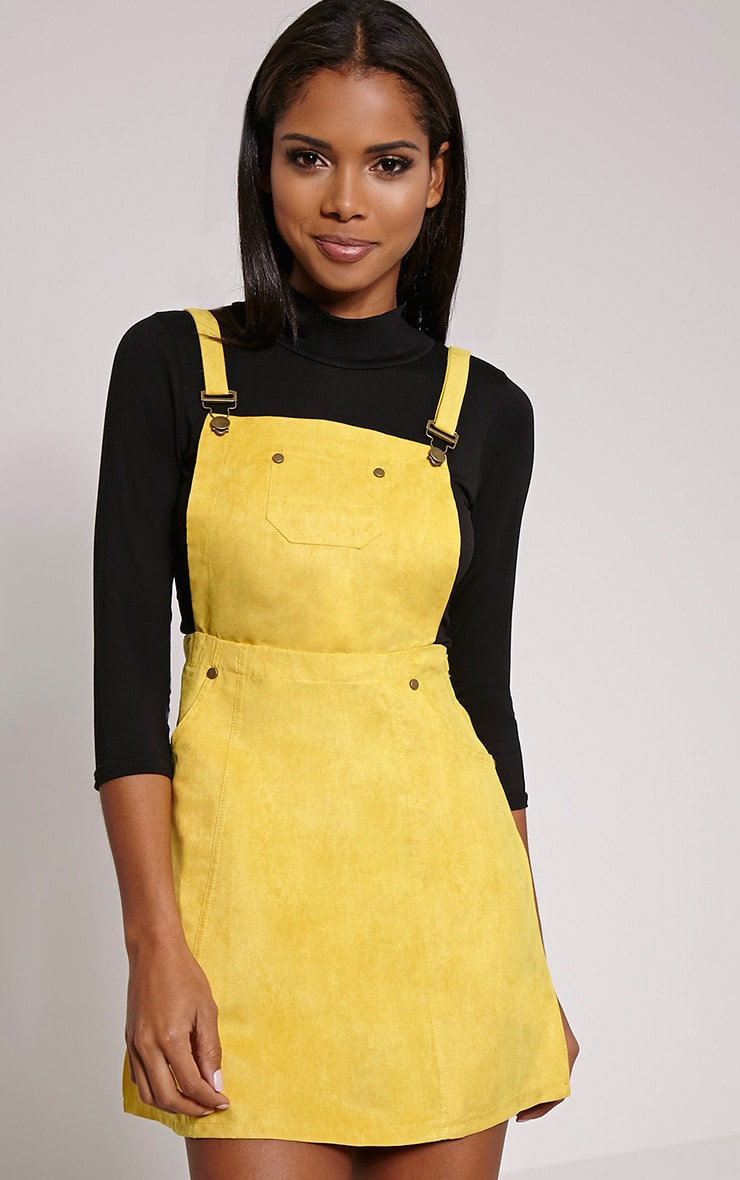 Lumie Mustard Faux Suede Pinafore Dress 1