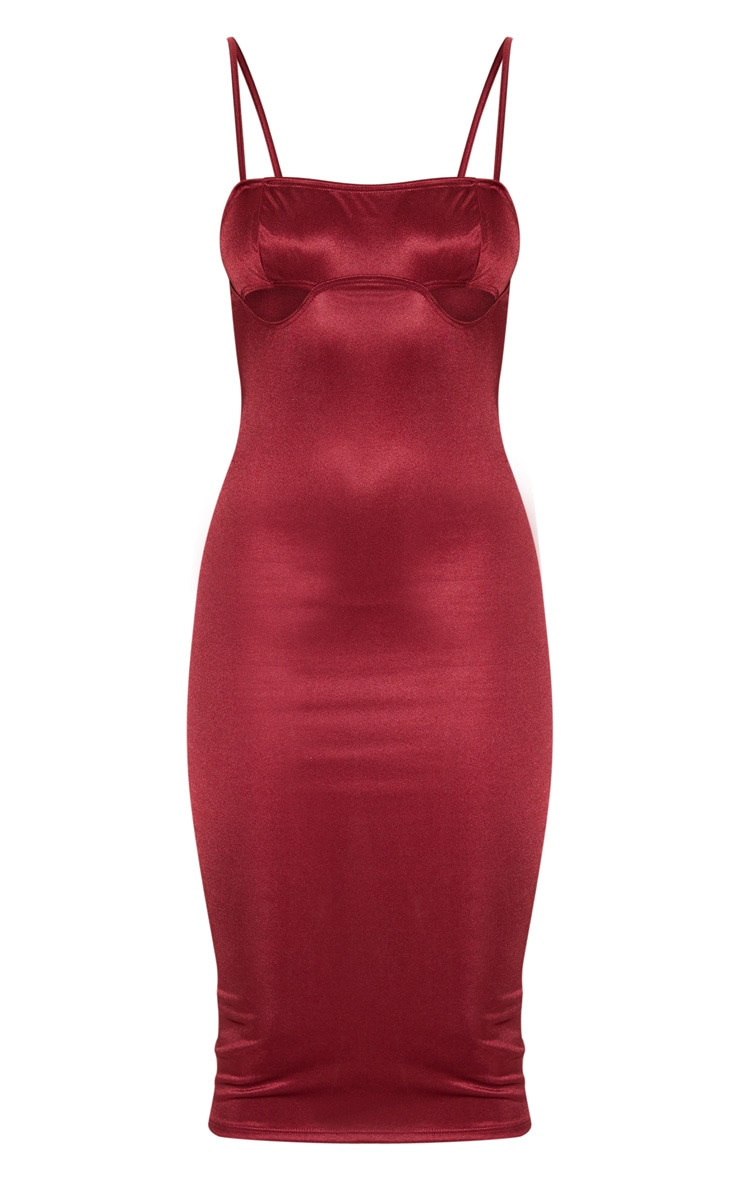 Burgundy Shimmer Strappy Cut Out Cup Midi Dress 3