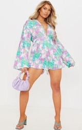 Lilac Abstract Floral Plunge Pleated Romper 1