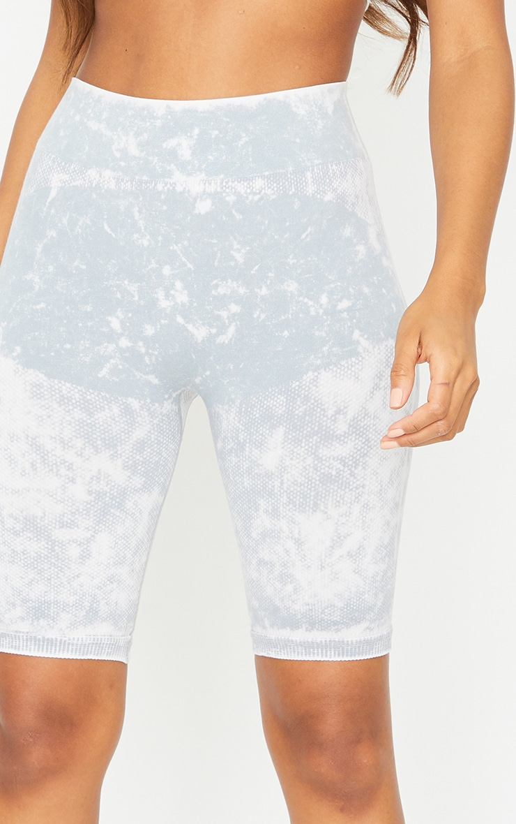 Grey Acid Wash Seamless Cycle Shorts 5
