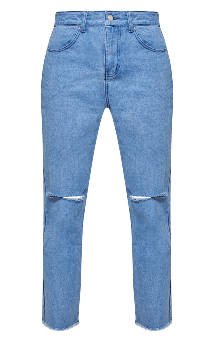Light Blue Fray Hem Ripped Denim Jeans 4
