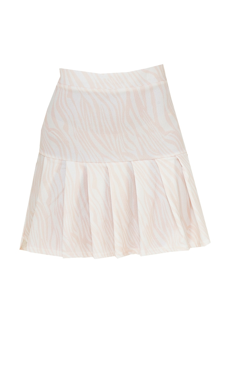 Nude Zebra Pleated Step Hem Mini Skirt 6