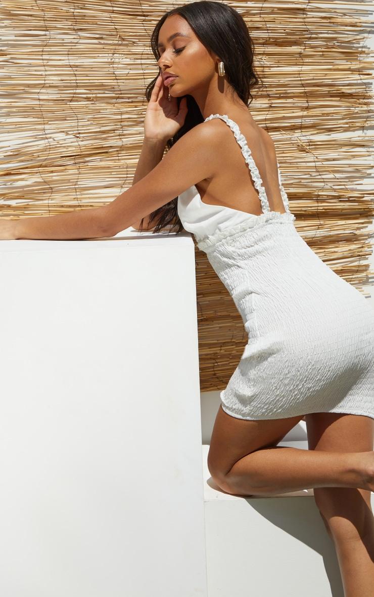White Shirred Strappy Woven Bodycon Dress 2