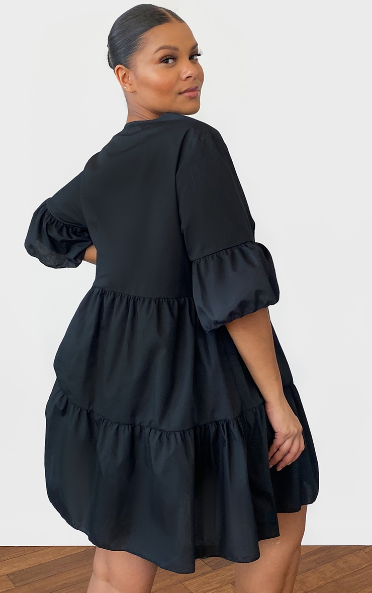 Plus Black Woven V Neck Tiered Smock Dress 2