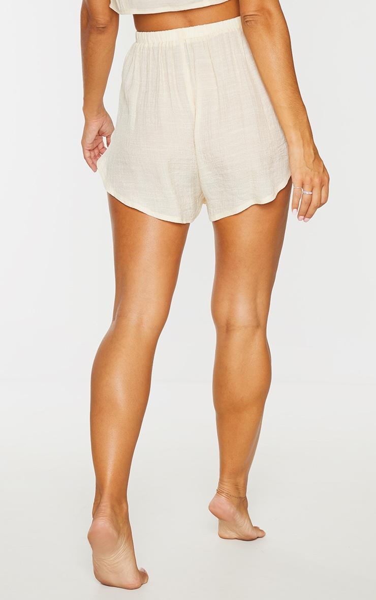 Nude Linen Look Side Split Beach Shorts 3