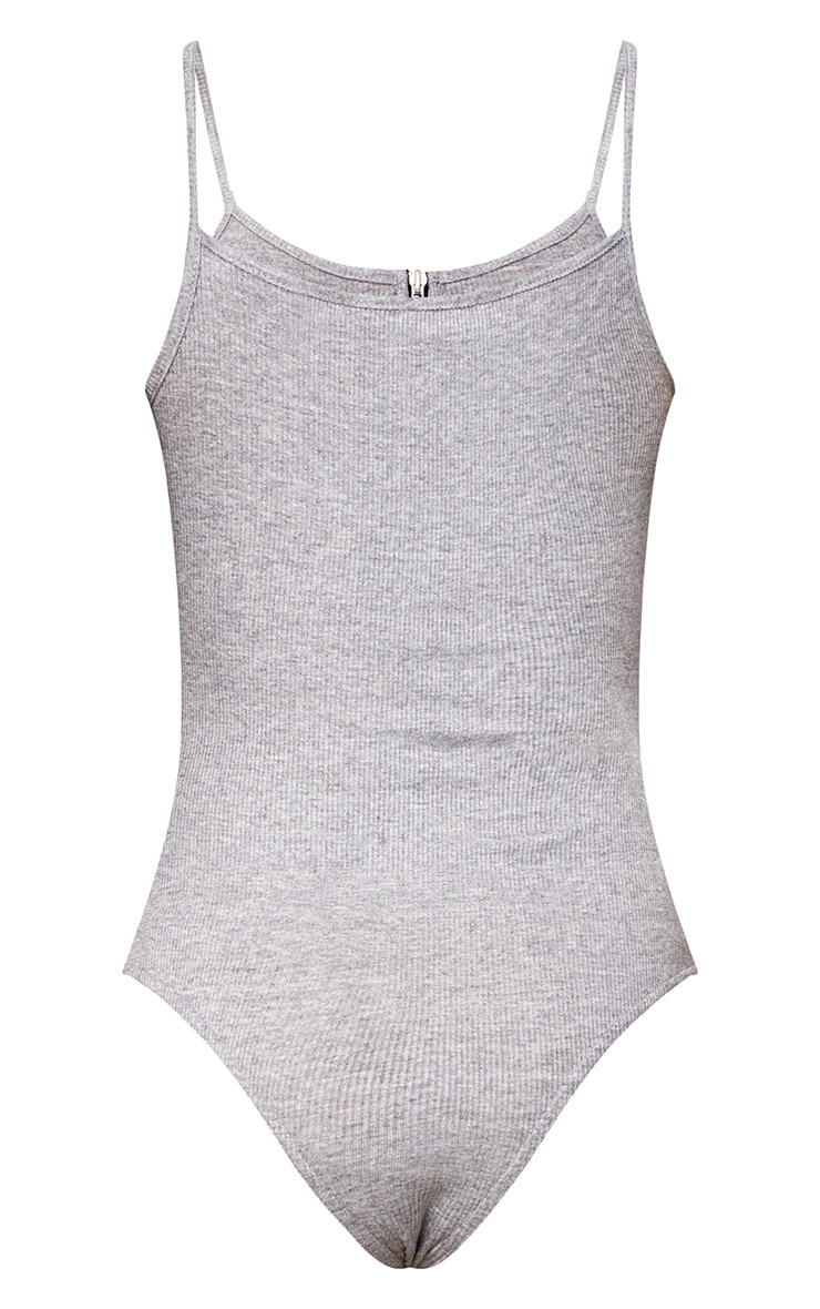 Grey Zip Jersey Rib Thong Bodysuit 4