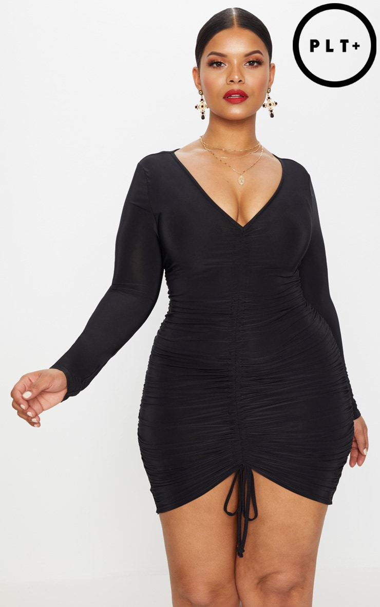 Plus Black Ruched Front Slinky Mini Dress 1