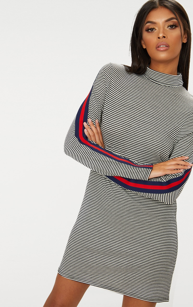 Striped Roll Neck Sports Stripe Shift Dress 1