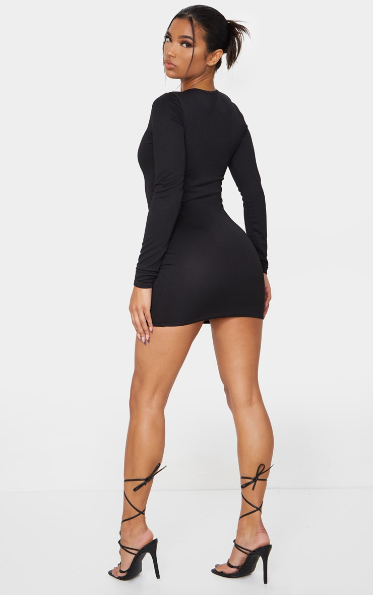 Black Long Sleeve Bodycon Dress 2