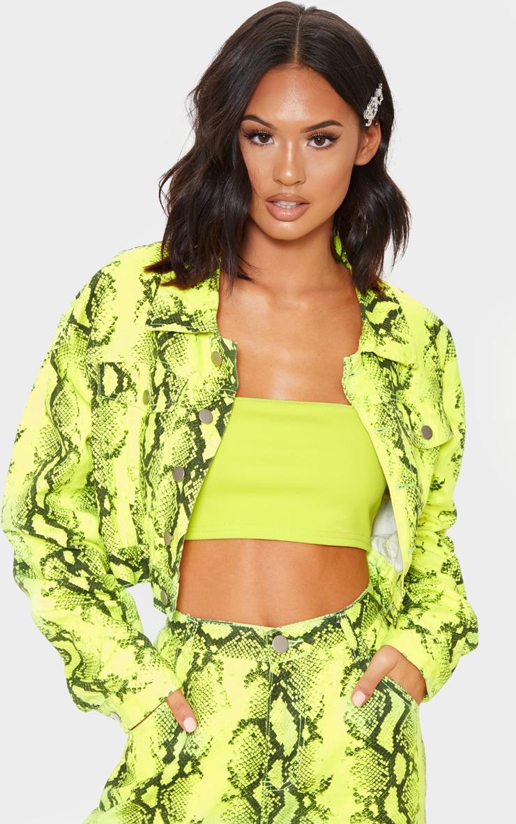 Yellow Neon Snake Denim Crop Jacket