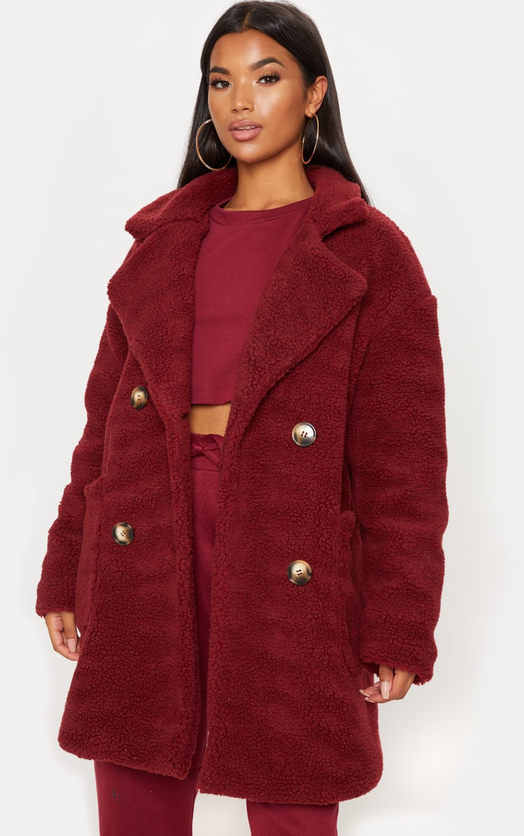 Burgundy Borg Midi Coat