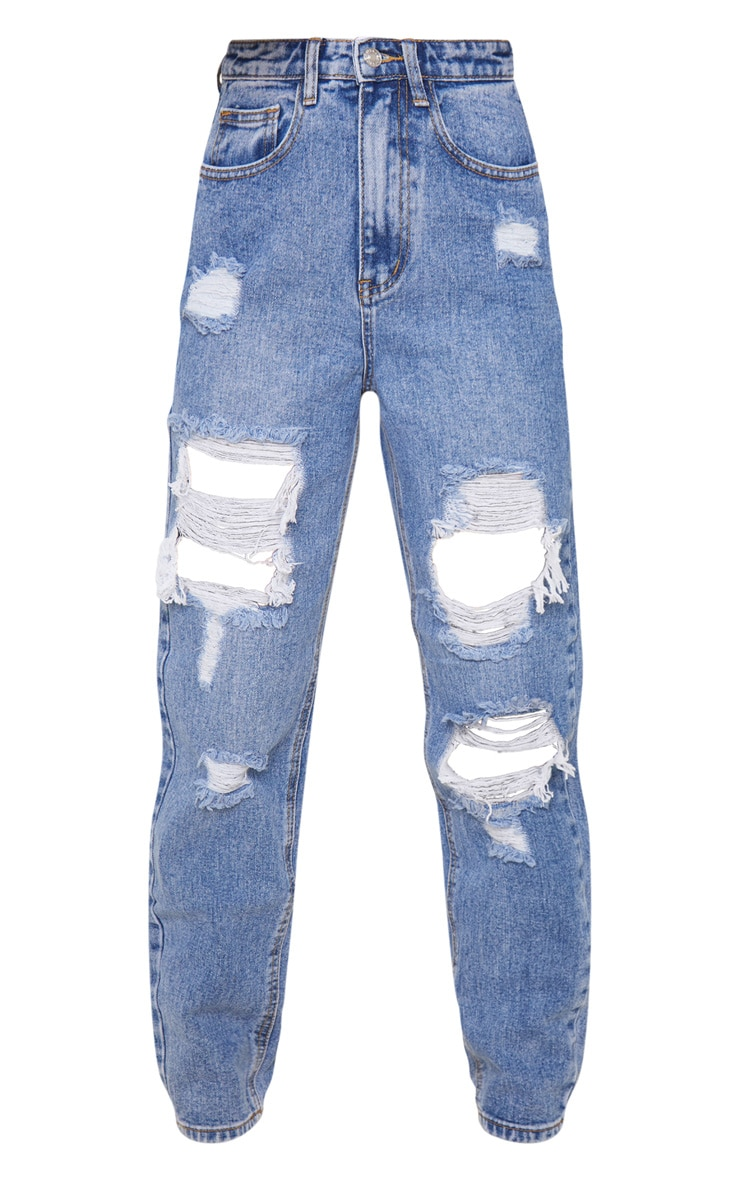 PRETTYLITTLETHING Petite Mid Blue Distressed Mom Jean 3