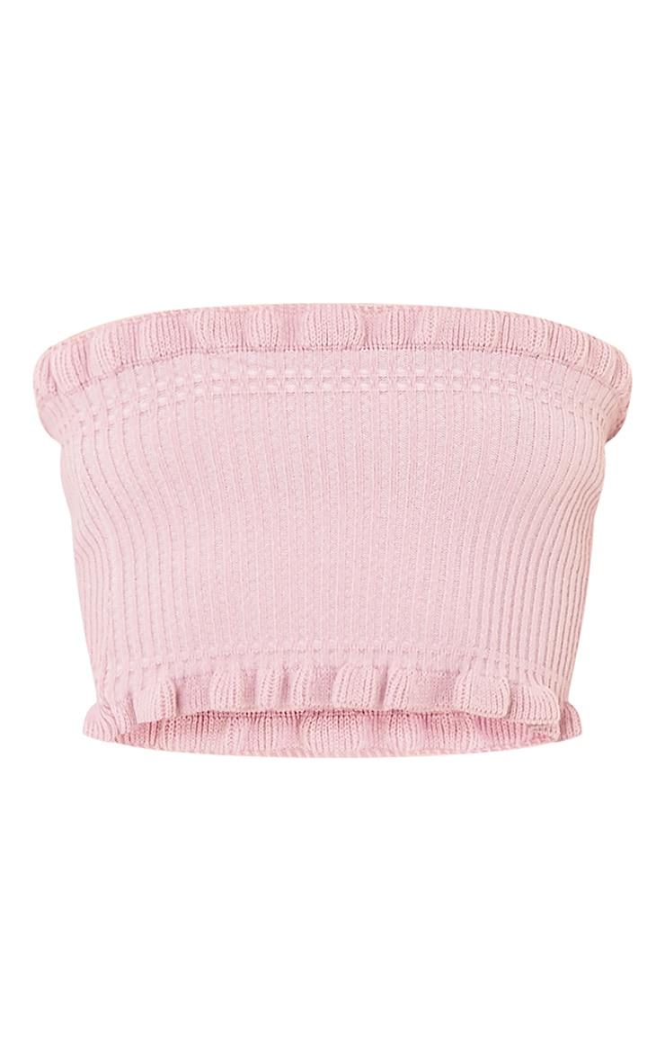 Brittnay Blush Ruffle Detail Knit  Tube Top 3