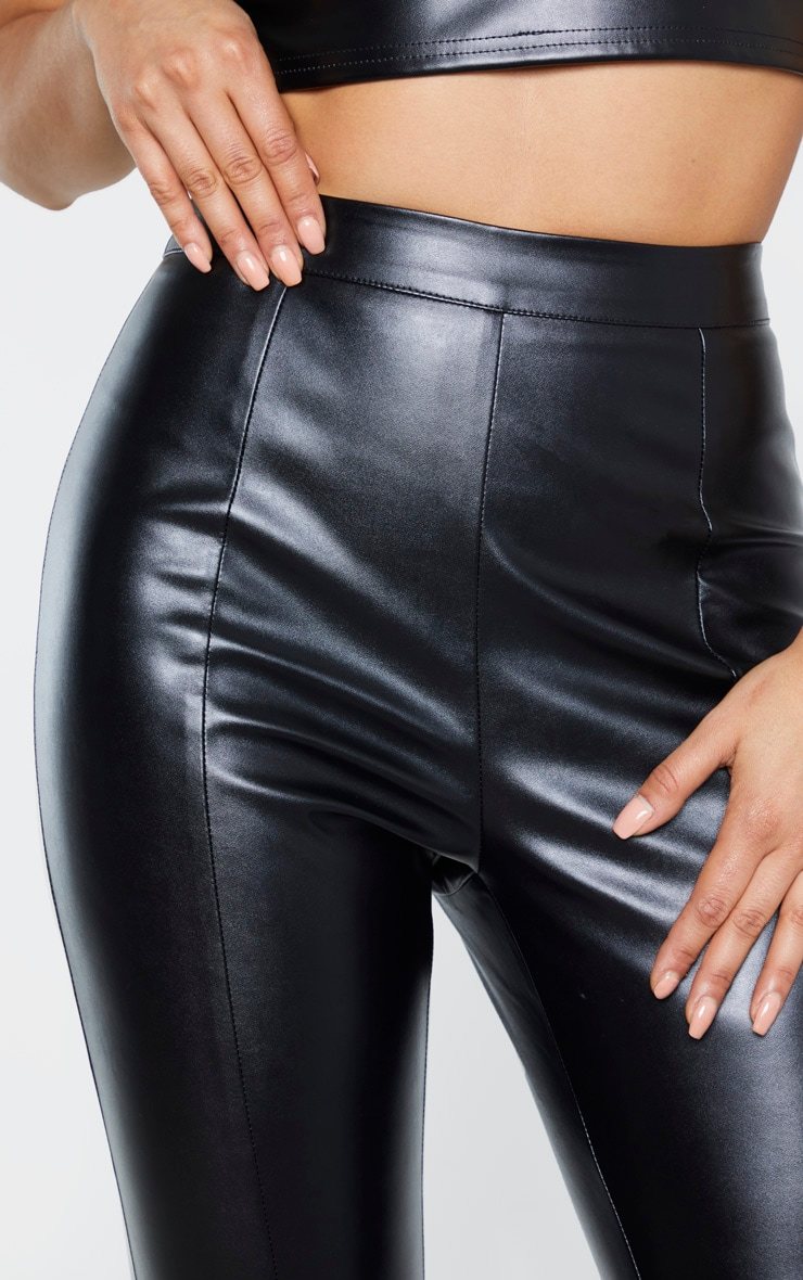 Tall Black Cropped Faux Leather Pants 5