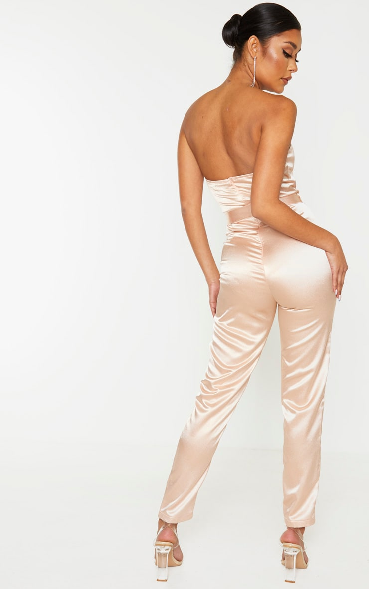 Dusty Pink Corset Detail Tie Waist Satin Jumpsuit 2