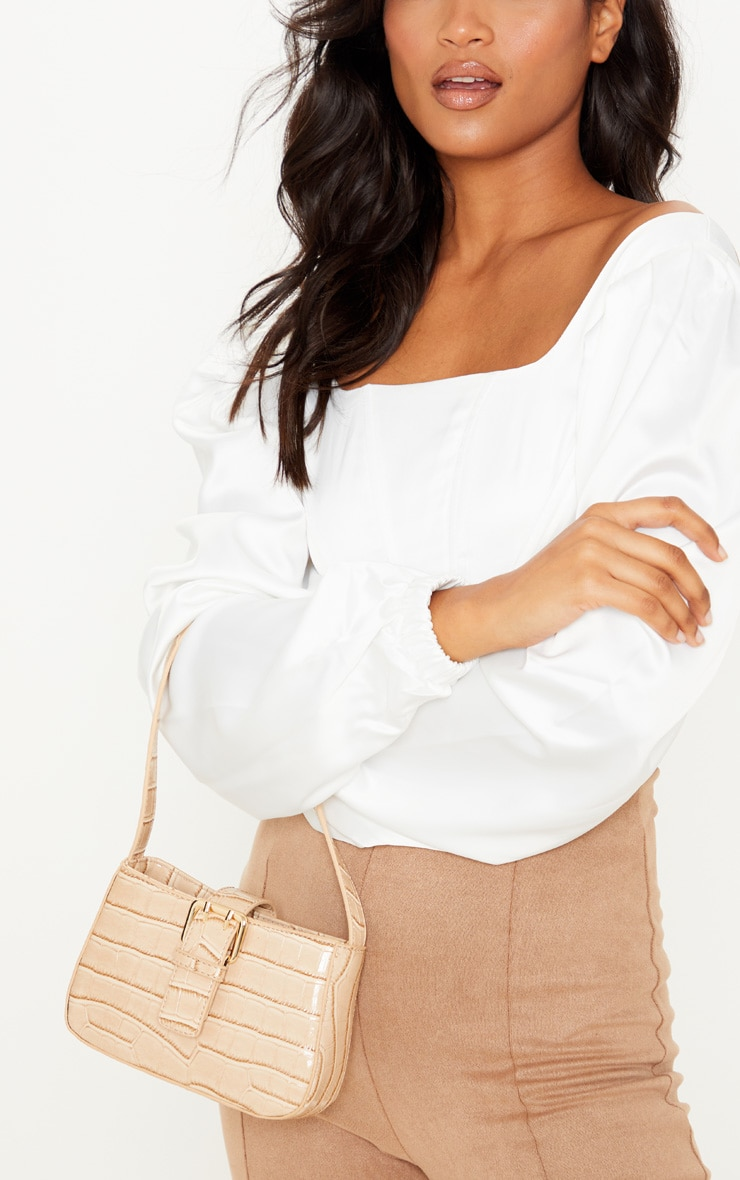 Cream Croc Buckle Front Shoulder Bag 1
