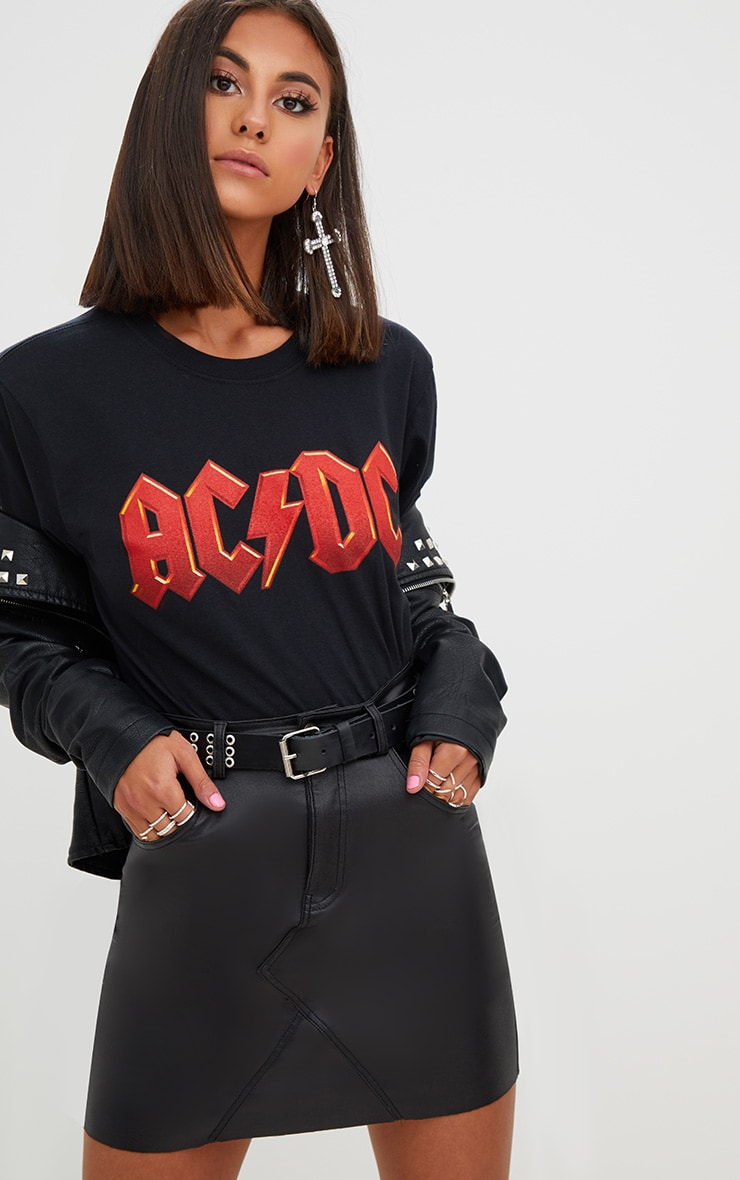 Black ACDC Slashed Back T Shirt