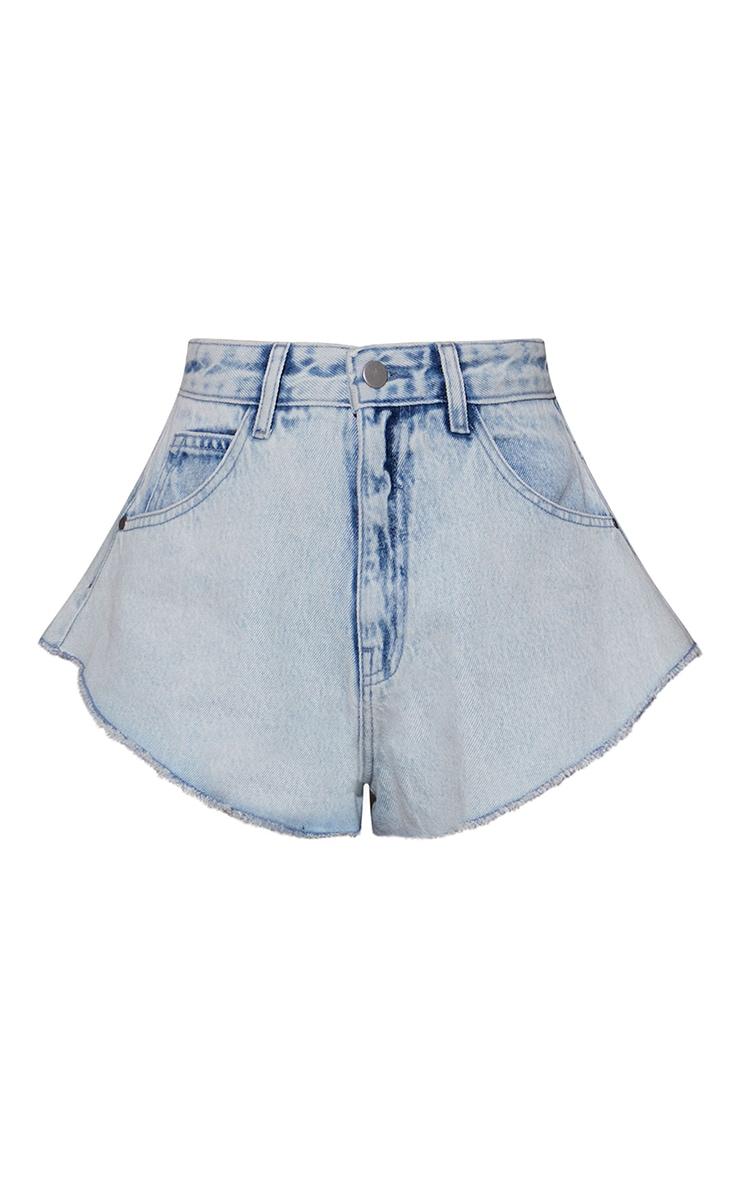 Bleach Wash Raw Hem Hotpants 7
