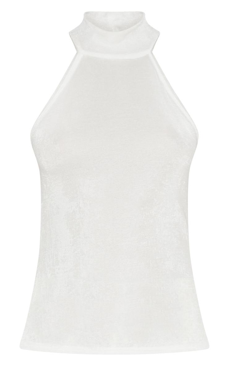 Cream Glitter Fine Knit Roll Neck Sleeveless Top 3