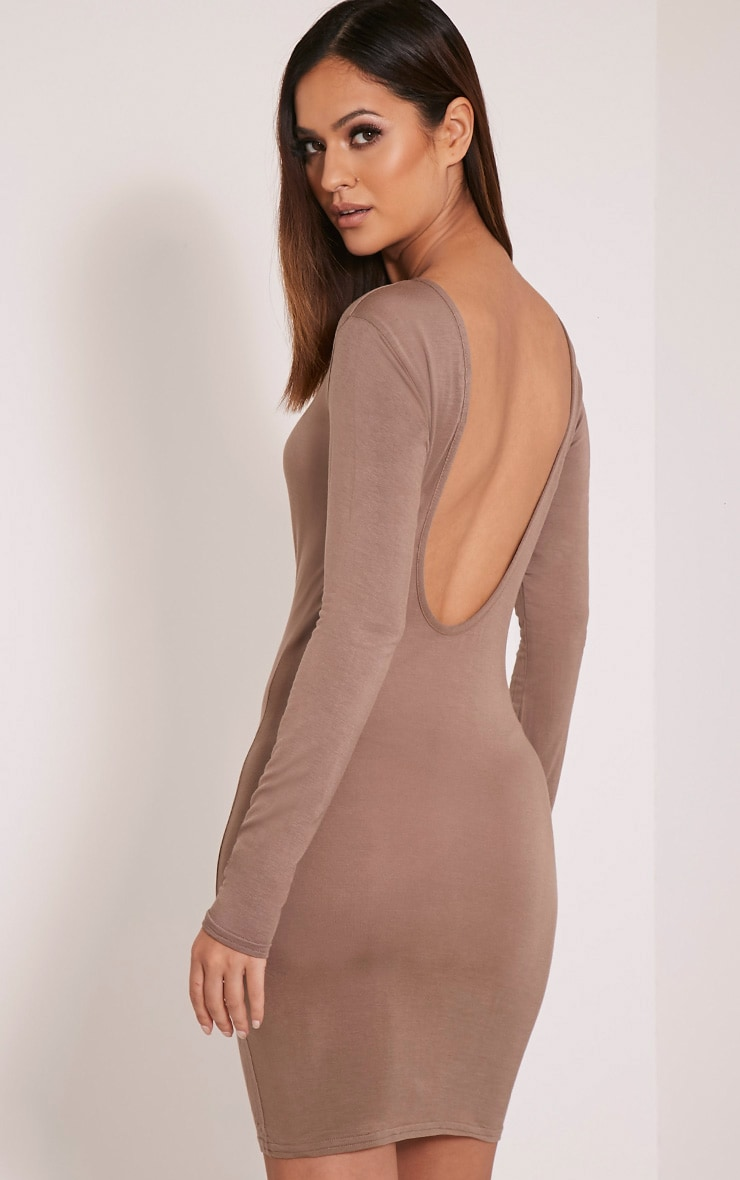 Basic Taupe Scoop Back Bodycon Dress 1