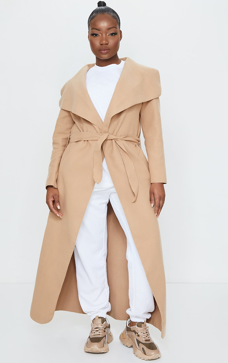 Petite Camel Maxi Length Oversized Waterfall Belted Coat 1