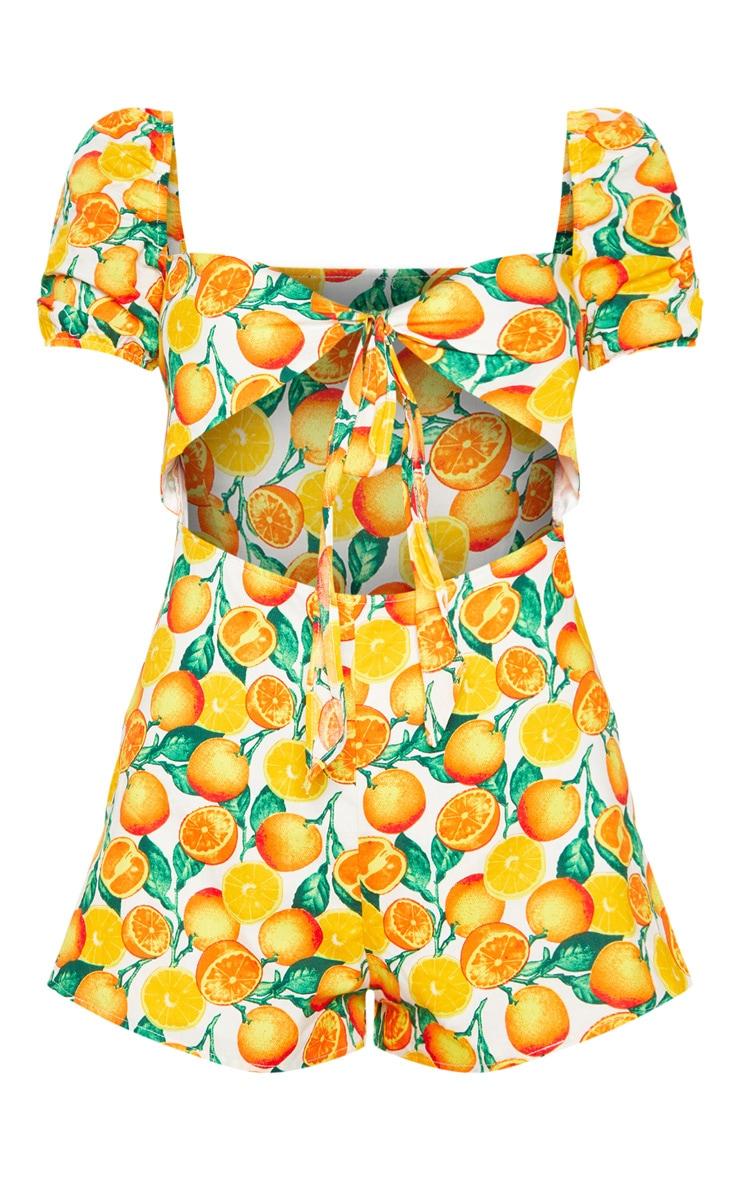Orange Print Tie Front Romper 3
