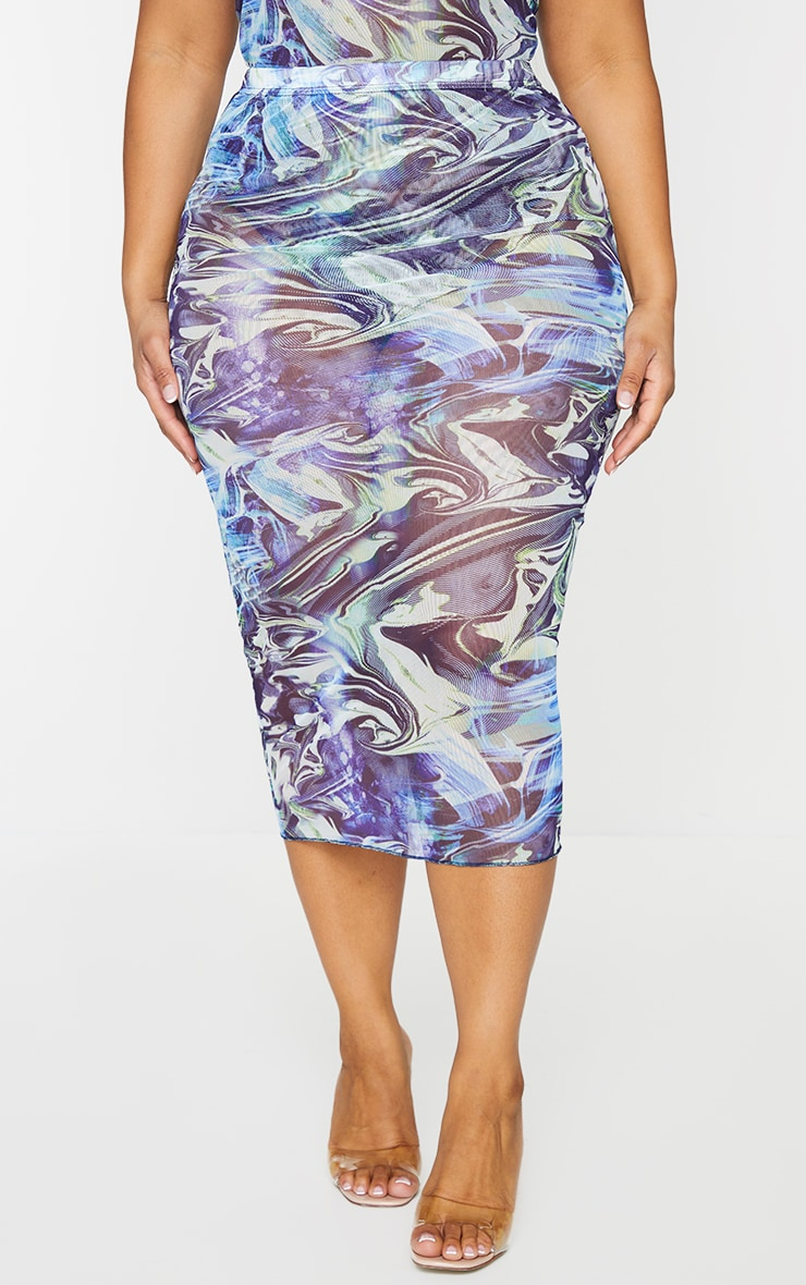 Plus Blue Marble Print Mesh Bodycon Midi Skirt 2