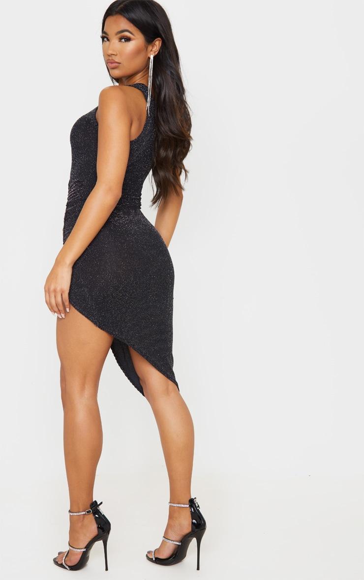 Black Textured Glitter One Shoulder Ruched Midi Dress 2