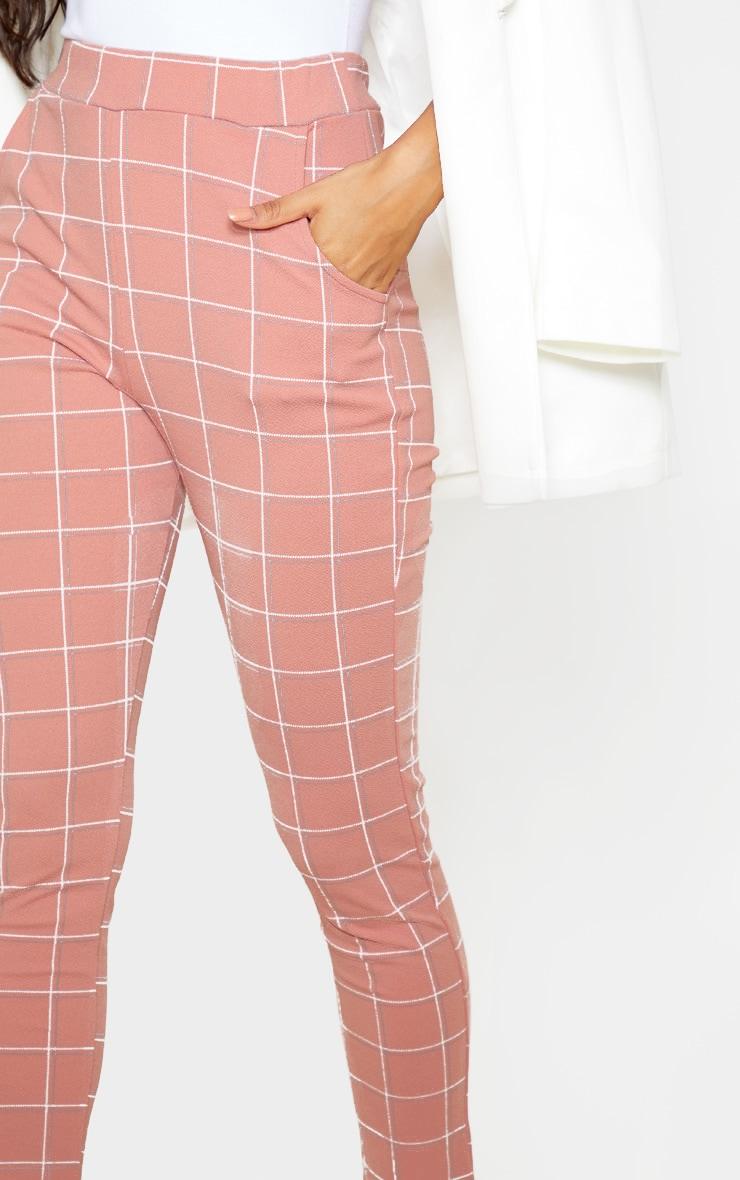 Dusty Rose Tweed Check Skinny Trousers 5