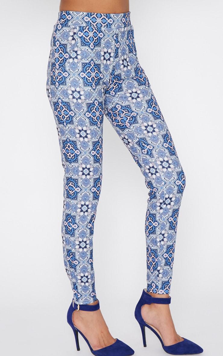Tora Blue Paisley Trouser  3
