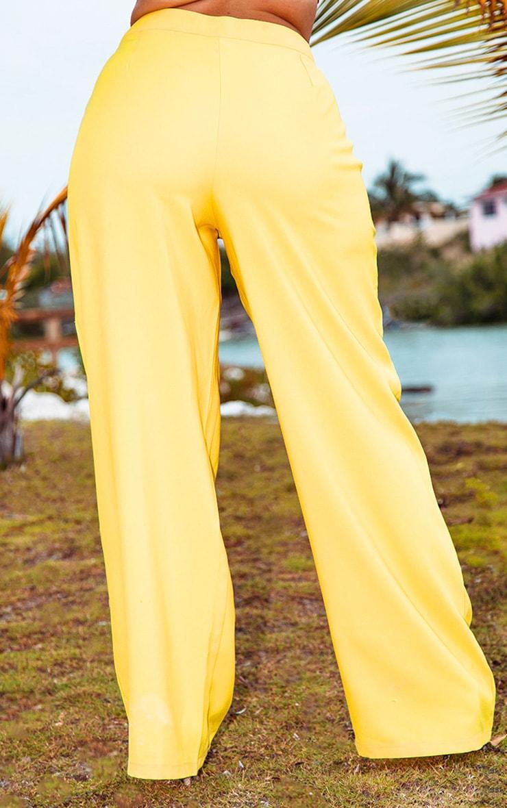 Plus Bright Yellow Button Detail Wide Leg Pants  4