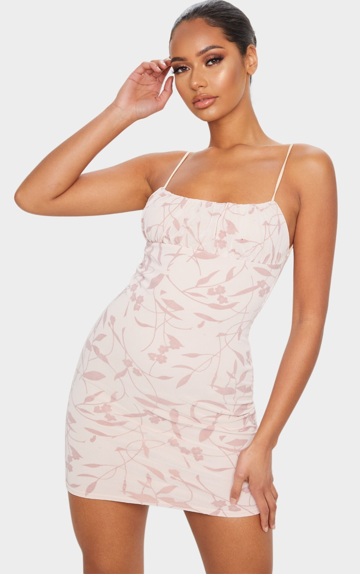 Nude Strappy Floral Flocked Detail Bodycon Dress 1