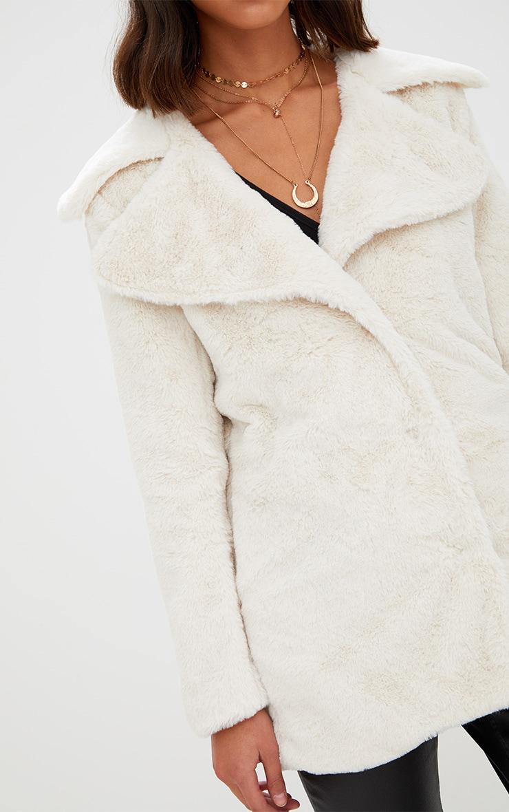 Cream Mid Length Faux Fur Coat 5