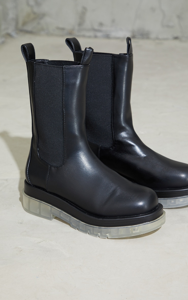 Black PU Contrast Clear Chunky Sole Chelsea Boots 1