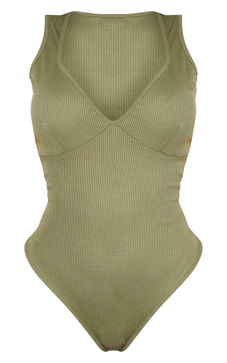 Shape Khaki Ribbed Cup Detail Strappy Bodysuit 3