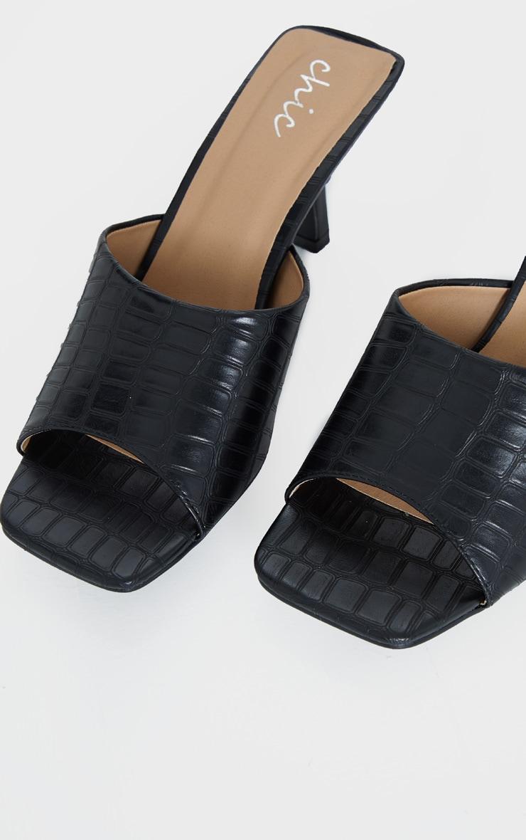 Black Croc Low Heel Square Toe Mule 4
