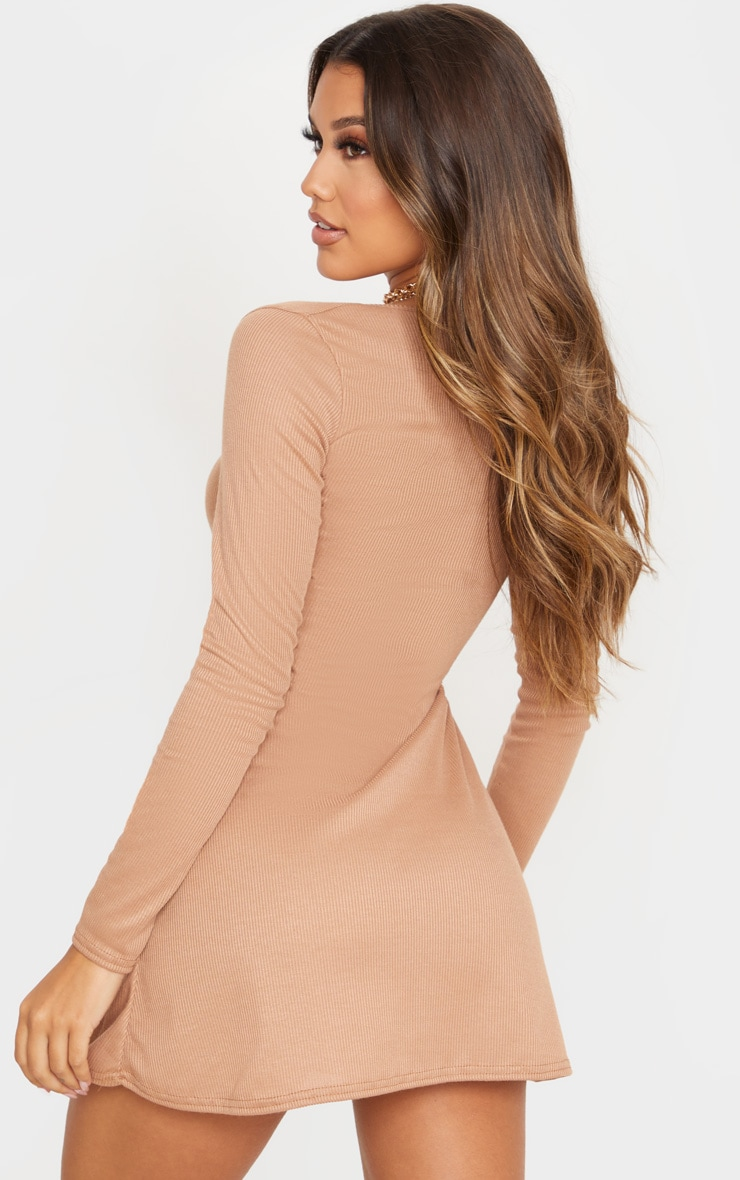 Camel Ribbed Square Neck Long Sleeve Shift Dress 2