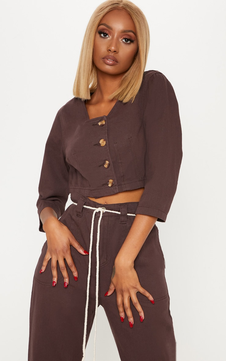 Chocolate Contrast Button Denim Crop Top  5